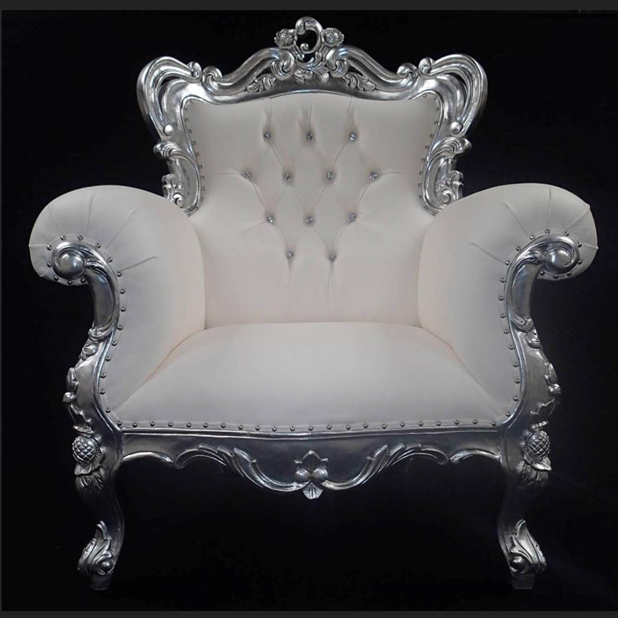 A Antiqued Silver Leaf Louis Huge Arm Chair Home Diva Shown In Soft White Faux