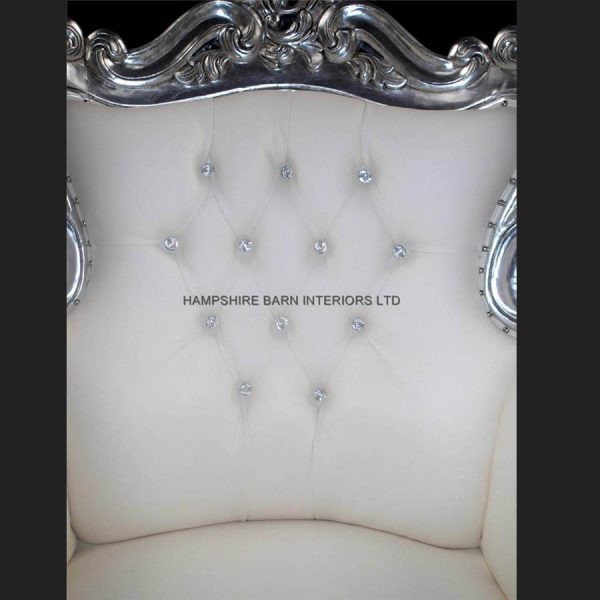 A A ANTIQUED SILVER LEAF LOUIS HUGE ARM CHAIR SHOP HOME DIVA SHOWN IN SOFT WHITE FAUX LEATHER WITH CRYSTAL BUTTONS5