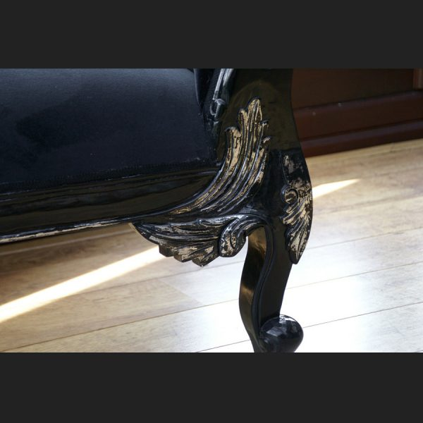 A A BLACK DIAMOND HAMPSHIRE CHAISE WITH SILVERED HIGHLIGHTS AND CRYSTAL BUTTONS = NEW IN = LATEST STYLE 22