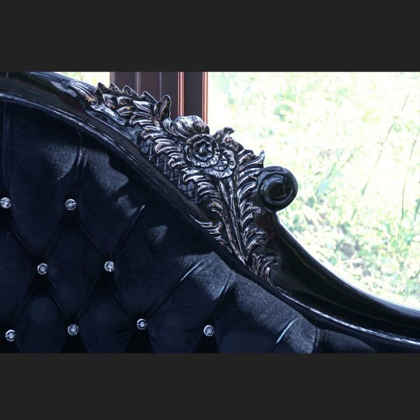 A A BLACK DIAMOND HAMPSHIRE CHAISE WITH SILVERED HIGHLIGHTS AND CRYSTAL BUTTONS = NEW IN = LATEST STYLE 33