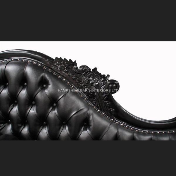 A A BLACK NOIR LARGE HAMPSHIRE CHAISE WITH BLACK FAUX LEATHER 4
