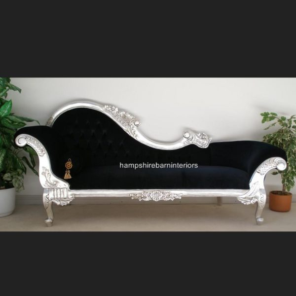 A A Black Velvet Hampshire Chaise Longue (large) in Silver Leaf