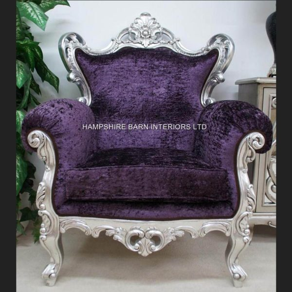 A A CRUSHED VELVET ROCOCO SILVER LEAF PURPLE LOUIS HUGE ARM CHAIR SHOP HOME DIVA1