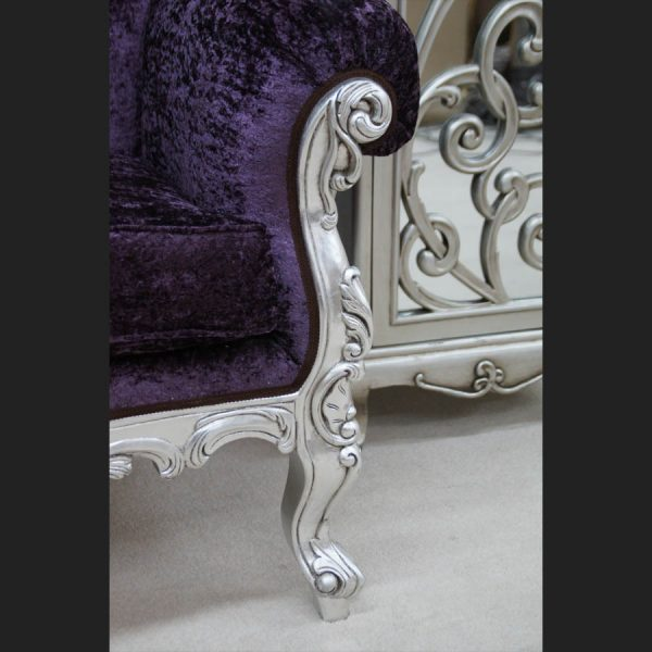 A A CRUSHED VELVET ROCOCO SILVER LEAF PURPLE LOUIS HUGE ARM CHAIR SHOP HOME DIVA2