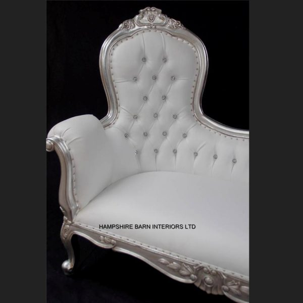 A A Elegance Designers High Back Chaise Longue ..available in SILVER or GOLD leaf with crystal buttons3