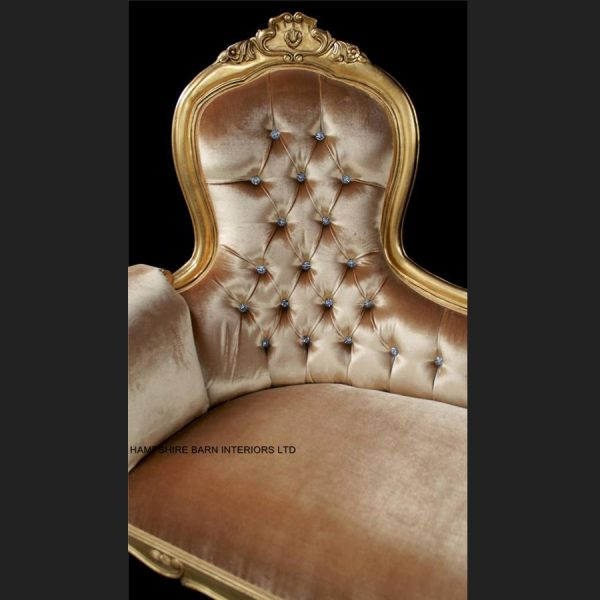 A A Elegance Designers High Back Chaise Longue ..available in SILVER or GOLD leaf with crystal buttons6