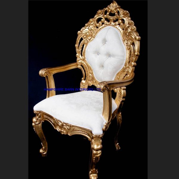 A A ORNATE ROYAL PALACE THRONE CHAIR IN GOLD LEAF FRAME AND IVORY CREAM FABRIC WITH CRYSTAL BUTTONS1