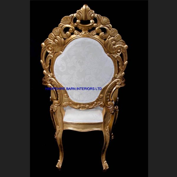 A A ORNATE ROYAL PALACE THRONE CHAIR IN GOLD LEAF FRAME AND IVORY CREAM FABRIC WITH CRYSTAL BUTTONS2