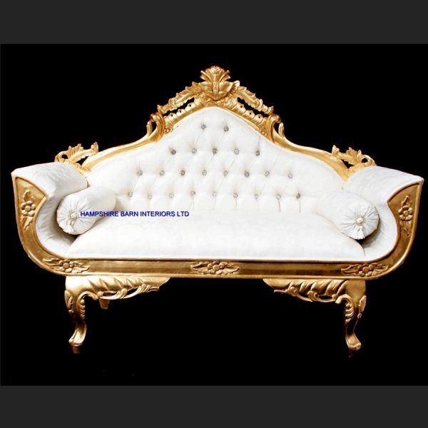 A A ORNATE ROYAL PALACE WEDDING SET (ONE SOFA AND TWO WEDDING THRONE CHAIRS ) IN GOLD LEAF FRAME AND IVORY CREAM FABRIC WITH CRYSTAL BUTTONS2