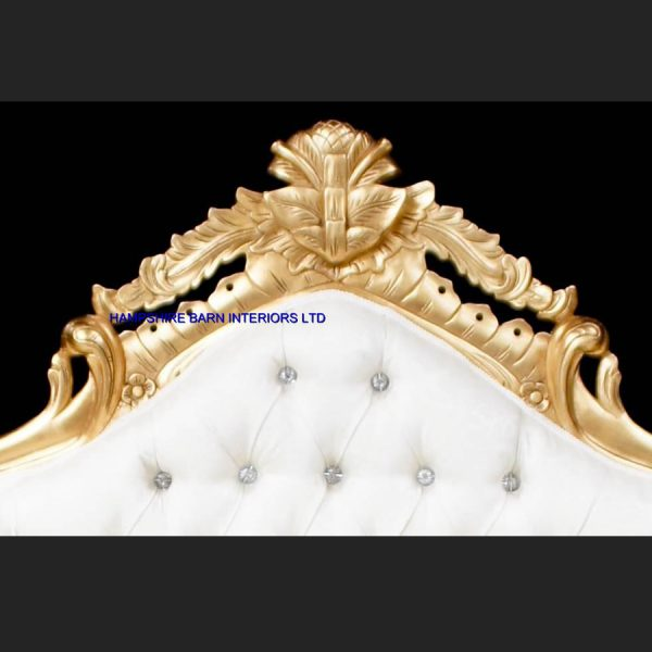 A A ORNATE ROYAL PALACE WEDDING SET (ONE SOFA AND TWO WEDDING THRONE CHAIRS ) IN GOLD LEAF FRAME AND IVORY CREAM FABRIC WITH CRYSTAL BUTTONS5