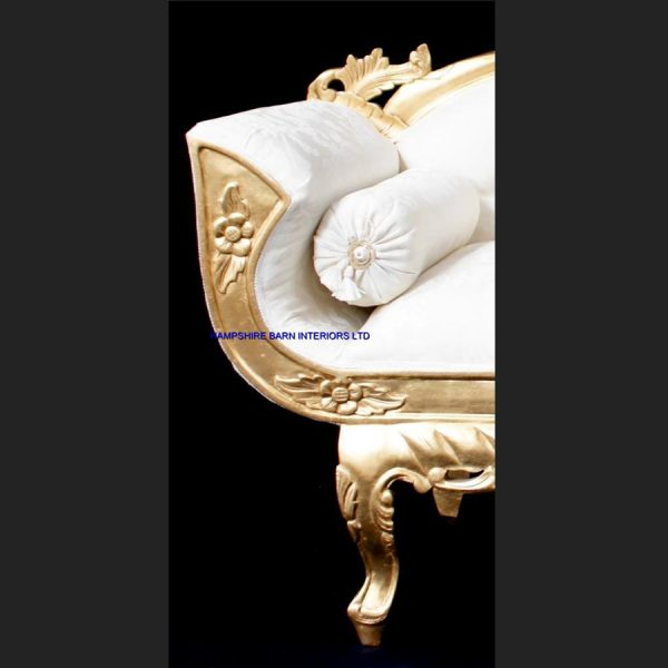A A ORNATE ROYAL PALACE WEDDING SET (ONE SOFA AND TWO WEDDING THRONE CHAIRS ) IN GOLD LEAF FRAME AND IVORY CREAM FABRIC WITH CRYSTAL BUTTONS6