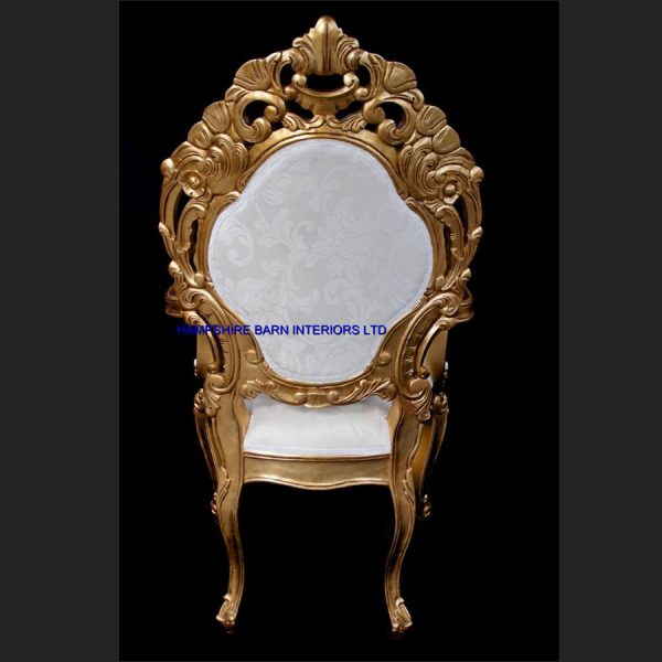 A A ORNATE ROYAL PALACE WEDDING SET (ONE SOFA AND TWO WEDDING THRONE CHAIRS ) IN GOLD LEAF FRAME AND IVORY CREAM FABRIC WITH CRYSTAL BUTTONS8