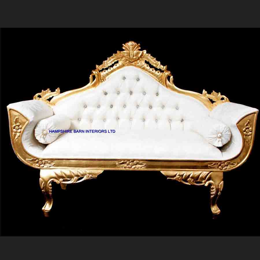 A Ornate Royal Palace Wedding Sofa In Gold Leaf Frame And Ivory Cream Fabric With Crystal Ons