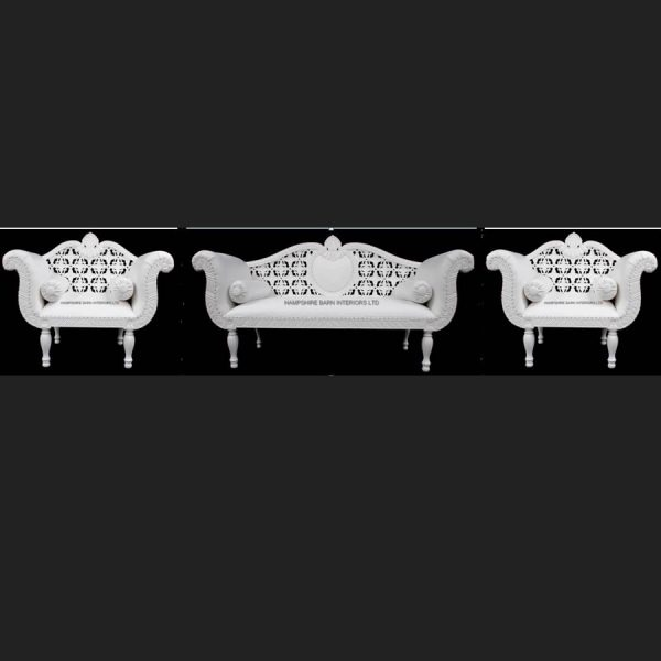 A A ROYAL WEDDING SET (SOFA PLUS TWO CHAIRS) IN GLOSS WHITE IN Easiclean White faux leather2