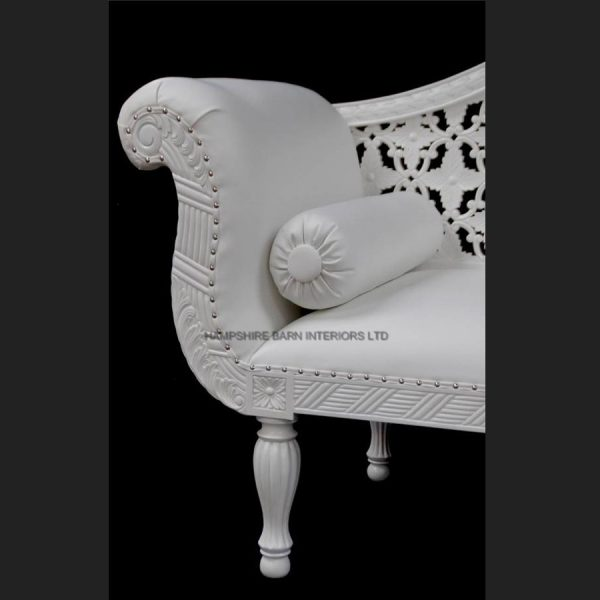 A A ROYAL WEDDING SET (SOFA PLUS TWO CHAIRS) IN GLOSS WHITE IN Easiclean White faux leather6