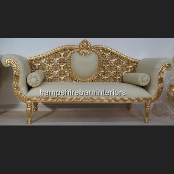 A A ROYAL WEDDING SET (SOFA PLUS TWO CHAIRS) IN GOLD LEAF shown in CREAM easiclean faux leather AND ALSO AVAILABLE IN IVORY CREAM FABRIC