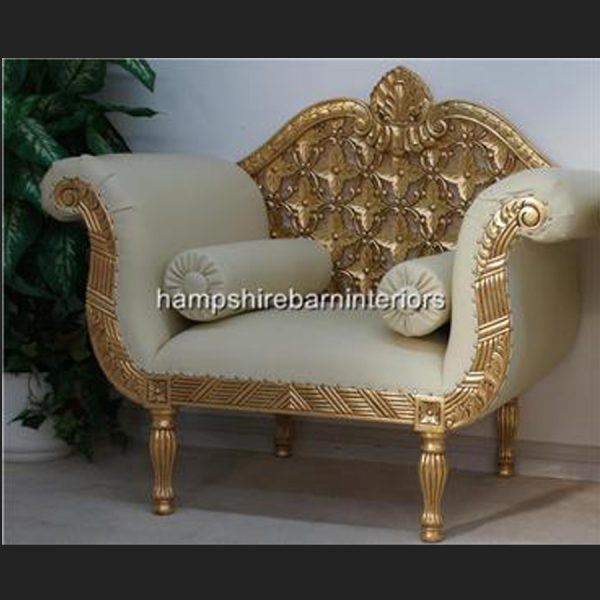 A A ROYAL WEDDING SET (SOFA PLUS TWO CHAIRS) IN GOLD LEAF shown in CREAM easiclean faux leather AND ALSO AVAILABLE IN IVORY CREAM FABRIC4