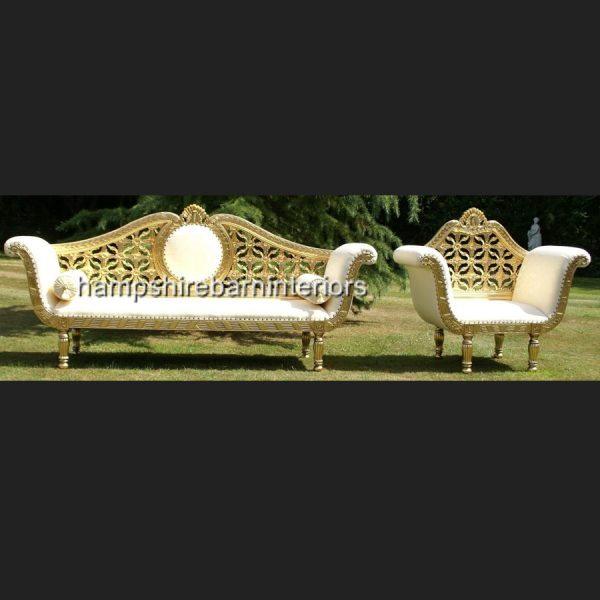 A A ROYAL WEDDING SET (SOFA PLUS TWO CHAIRS) IN GOLD LEAF shown in CREAM easiclean faux leather AND ALSO AVAILABLE IN IVORY CREAM FABRIC6
