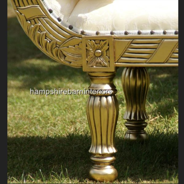 A A ROYAL WEDDING SET (SOFA PLUS TWO CHAIRS) IN GOLD LEAF shown in CREAM easiclean faux leather AND ALSO AVAILABLE IN IVORY CREAM FABRIC9