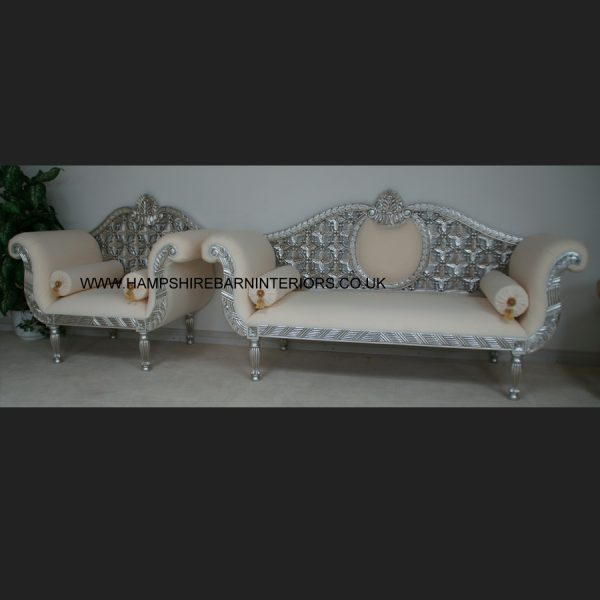 A A ROYAL WEDDING SET (SOFA PLUS TWO CHAIRS) IN SILVER LEAF IN Easiclean White faux leather