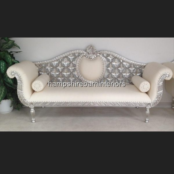 A A ROYAL WEDDING SET (SOFA PLUS TWO CHAIRS) IN SILVER LEAF IN Easiclean White faux leather2