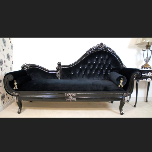 A AMBERLEY CHAISE LONGUE BLACK & SILVERED W DIAMOND CRYSTAL BUTTONS BLACK VELVET