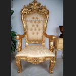 A BEAUTIFUL EMPEROR ROSE LARGE ORNATE THRONE CHAIR….shown in gold leaf and with crystal diamond buttons2