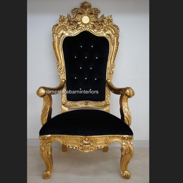 A BEAUTIFUL EMPEROR ROSE LARGE ORNATE THRONE CHAIR….shown in gold leaf and with crystal diamond buttons3
