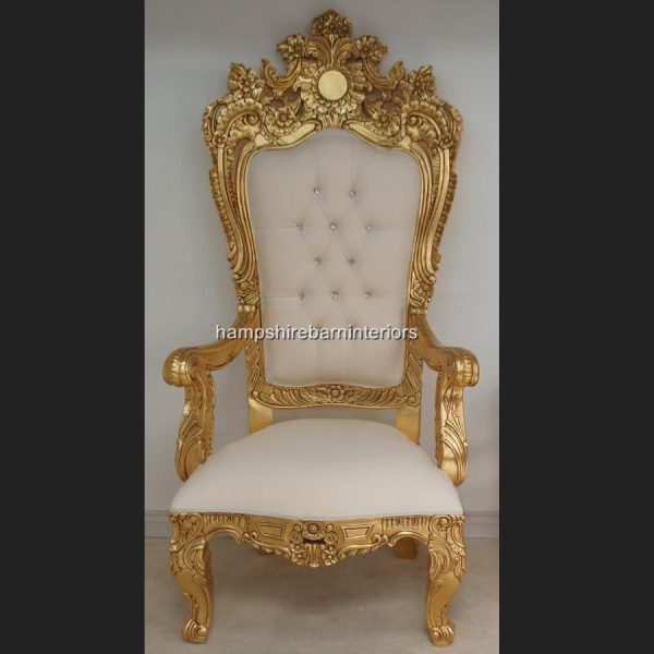 A BEAUTIFUL EMPEROR ROSE LARGE ORNATE THRONE CHAIR….shown in gold leaf and with crystal diamond buttons4