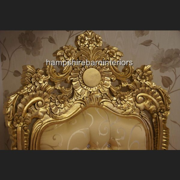 A BEAUTIFUL EMPEROR ROSE LARGE ORNATE THRONE CHAIR….shown in gold leaf and with crystal diamond buttons5