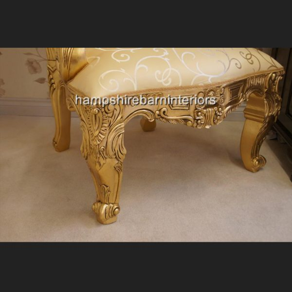 A BEAUTIFUL EMPEROR ROSE LARGE ORNATE THRONE CHAIR….shown in gold leaf and with crystal diamond buttons8
