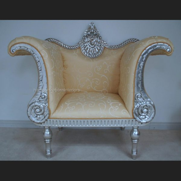 A BEAUTIFUL THREE PIECE PREETI WEDDING SET …shown in SILVER LEAF (ONE SOFA PLUS TWO SIDE THRONE CHAIRS)2
