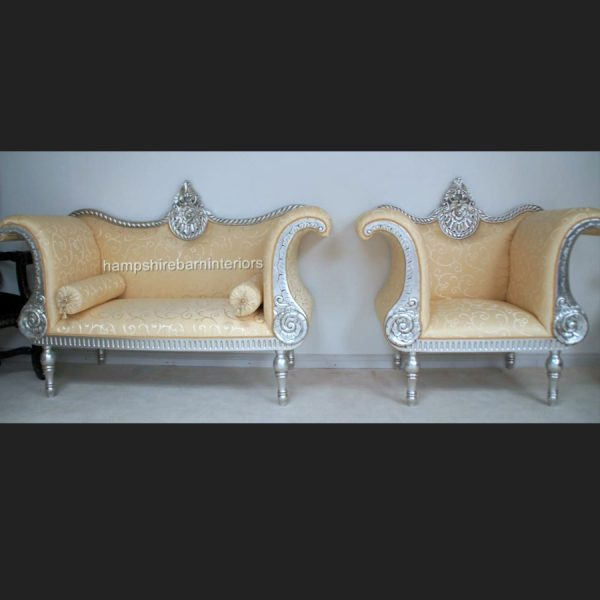 A BEAUTIFUL THREE PIECE PREETI WEDDING SET …shown in SILVER LEAF (ONE SOFA PLUS TWO SIDE THRONE CHAIRS)5