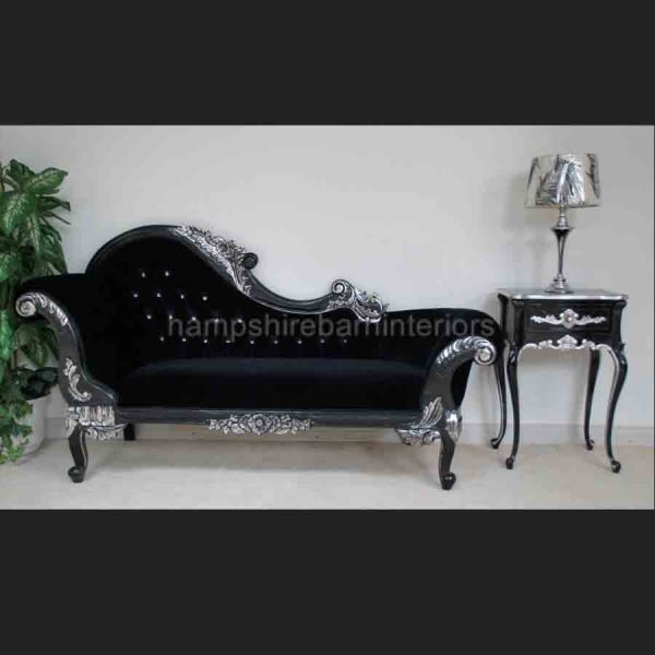 A BLACK DIAMOND SILVERED HAMPSHIRE MEDIUM CHAISE …with crystal buttons and black velvet