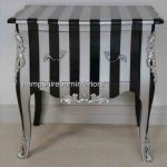 A BLACK & SILVER STRIPE DESIGNERS SIDE CABINET (with metallic edges)1