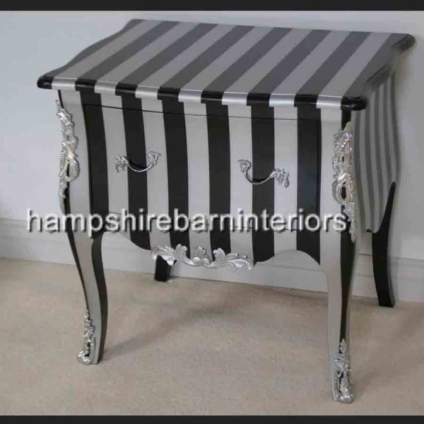 A BLACK & SILVER STRIPE DESIGNERS SIDE CABINET (with metallic edges)2