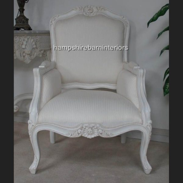 A Beautiful Chateau French Style Antiqued French White Arm Chair1