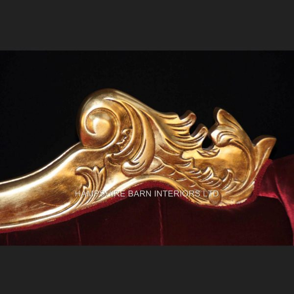 A Beautiful Large Gold Leaf & Red Velvet Hampshire Chaise Longue Stunning 3