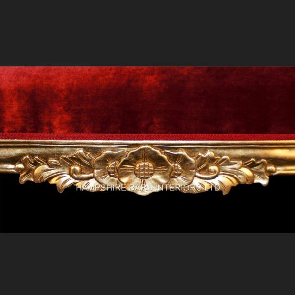 A Beautiful Large Gold Leaf & Red Velvet Hampshire Chaise Longue Stunning 4