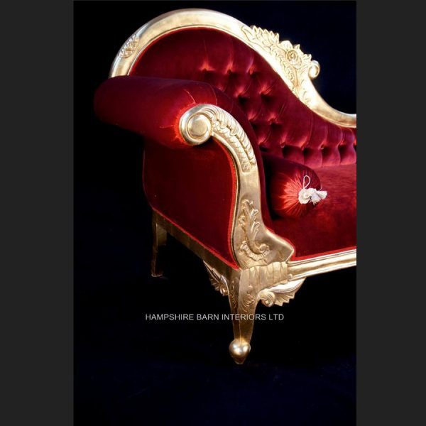 A Beautiful Large Gold Leaf & Red Velvet Hampshire Chaise Longue Stunning55