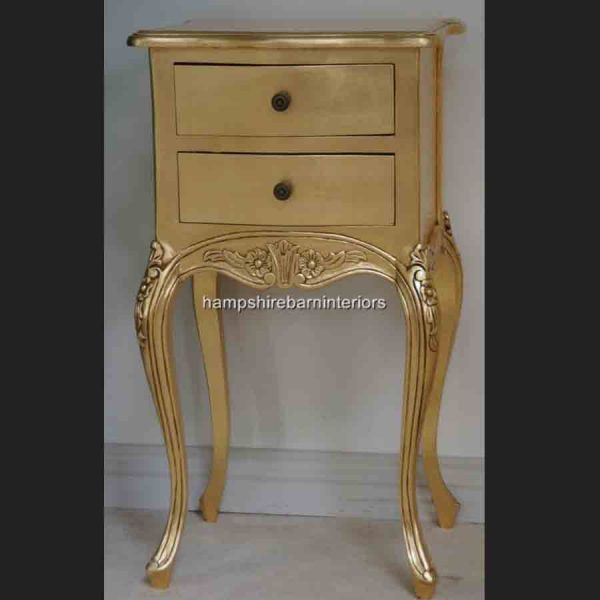 A Beautiful Parisian Ornate Two Drawer Lamp Side Table or Bedside Cabinet shown in GOLD LEAF1