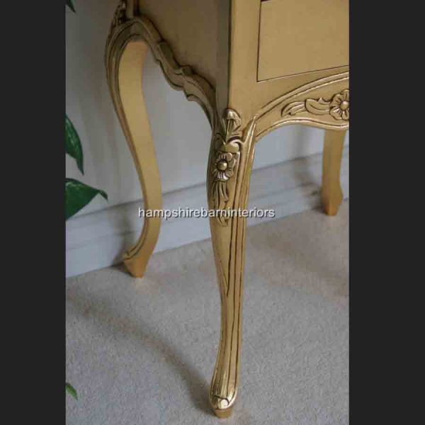 A Beautiful Parisian Ornate Two Drawer Lamp Side Table or Bedside Cabinet shown in GOLD LEAF2
