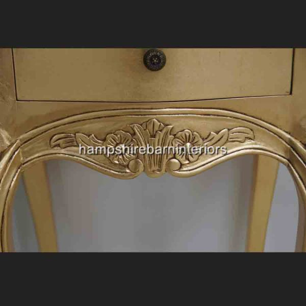 A Beautiful Parisian Ornate Two Drawer Lamp Side Table or Bedside Cabinet shown in GOLD LEAF3