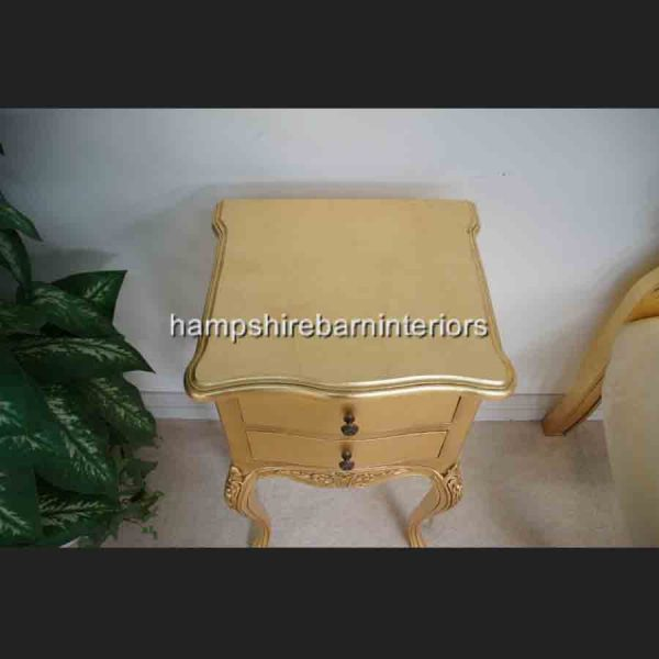 A Beautiful Parisian Ornate Two Drawer Lamp Side Table or Bedside Cabinet shown in GOLD LEAF4