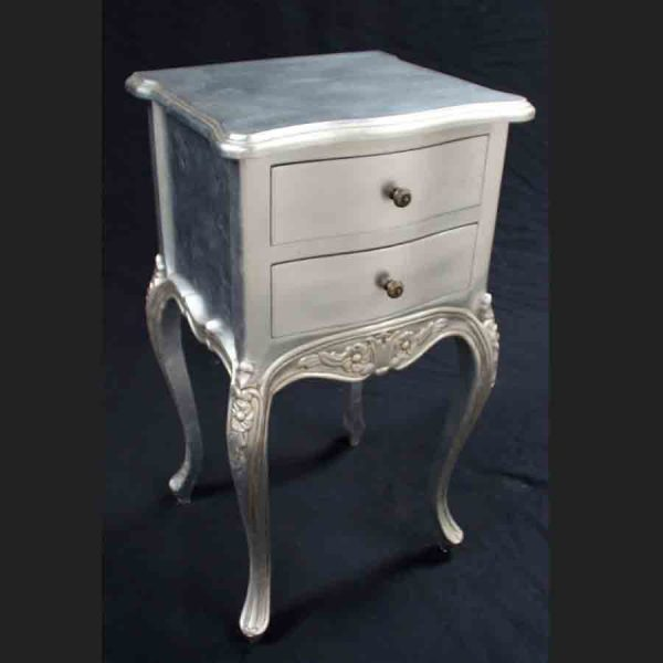 A Beautiful Parisian Ornate Two Drawer Lamp Side Table or Bedside Cabinet shown in SILVER LEAF2