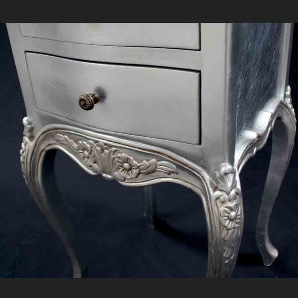 A Beautiful Parisian Ornate Two Drawer Lamp Side Table or Bedside Cabinet shown in SILVER LEAF3