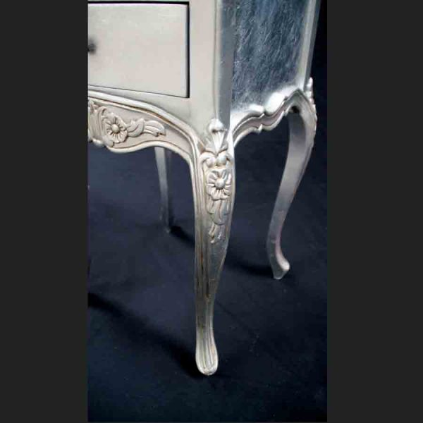 A Beautiful Parisian Ornate Two Drawer Lamp Side Table or Bedside Cabinet shown in SILVER LEAF4