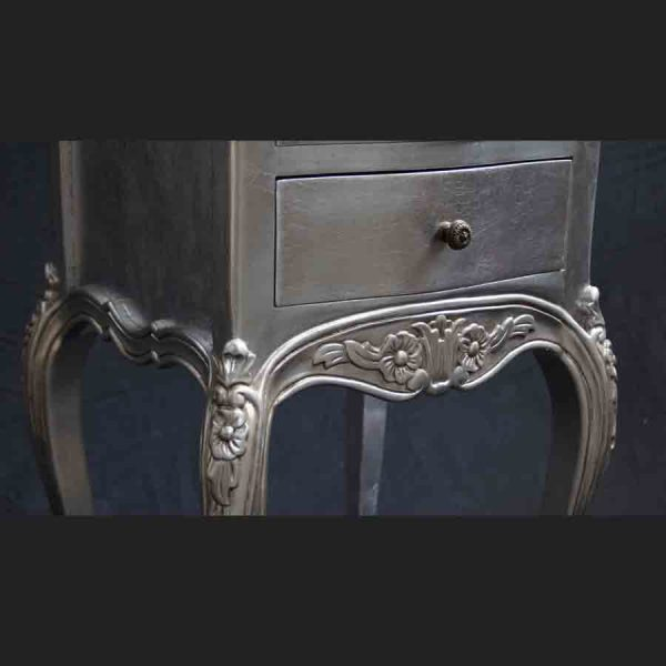 A Beautiful Parisian Ornate Two Drawer Lamp Side Table or Bedside Cabinet shown in SILVER LEAF5