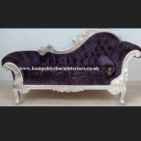 A Beautiful Silver Leaf and Purple Crushed Velvet Designers Chaise1