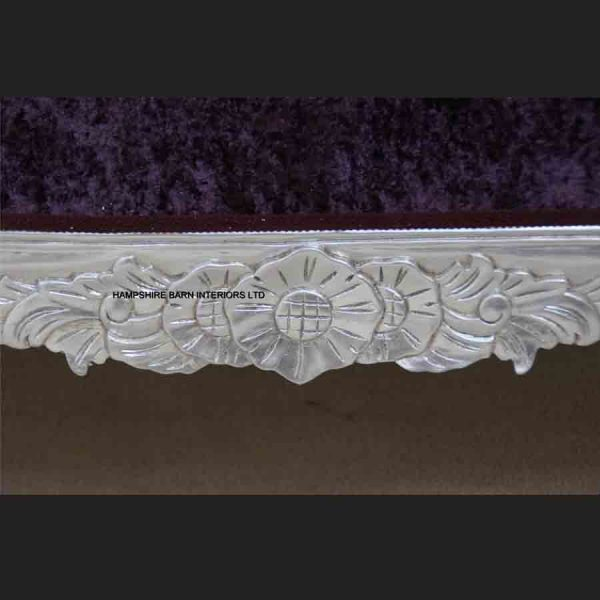 A Beautiful Silver Leaf and Purple Crushed Velvet Designers Chaise3